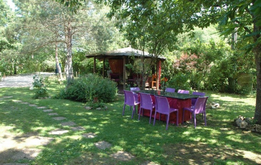 Location de vacances - Villa à Souillac - Table extérieur avec cuisine été et barbecue