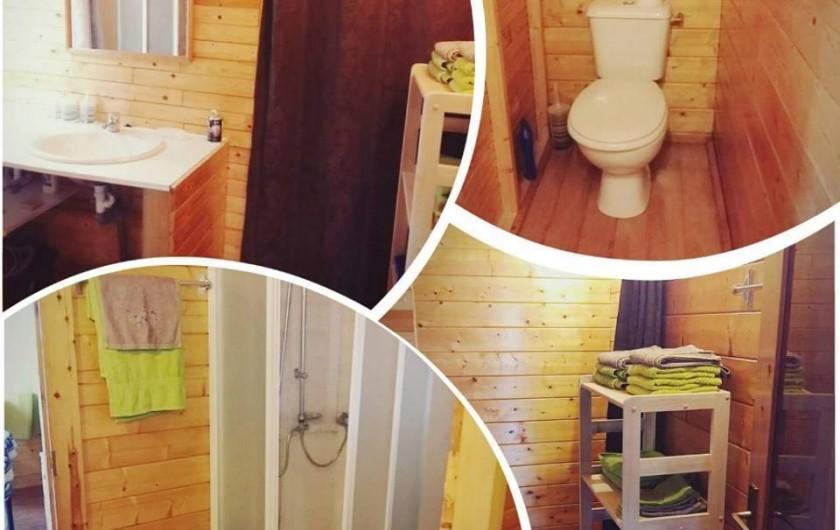 Location de vacances - Chalet à La Saline-Les-Bains - salle de bains avec douche , et wc indépendants , linge de maison incluse .