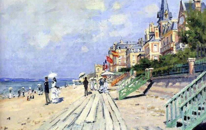Location de vacances - Appartement à Trouville-sur-Mer - Table de C. Monnet. L'appartement est dans le bâtiment avant le 1er drapeau