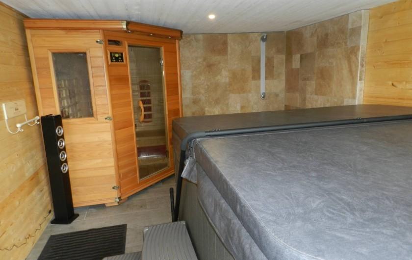 Location de vacances - Chalet à Saissac - 17m² d'espace bien-être avec Sauna & Jacuzzi et grande douche à l'italienne.