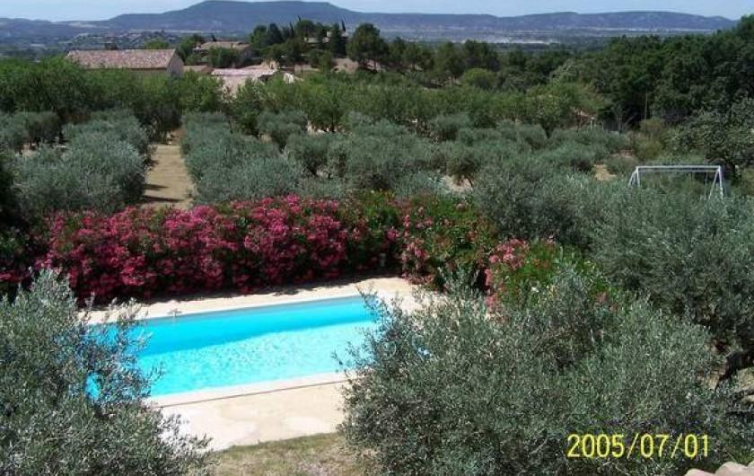 Location de vacances - Maison - Villa à Mérindol - Vue de la piscine et de la vallée de la Durance