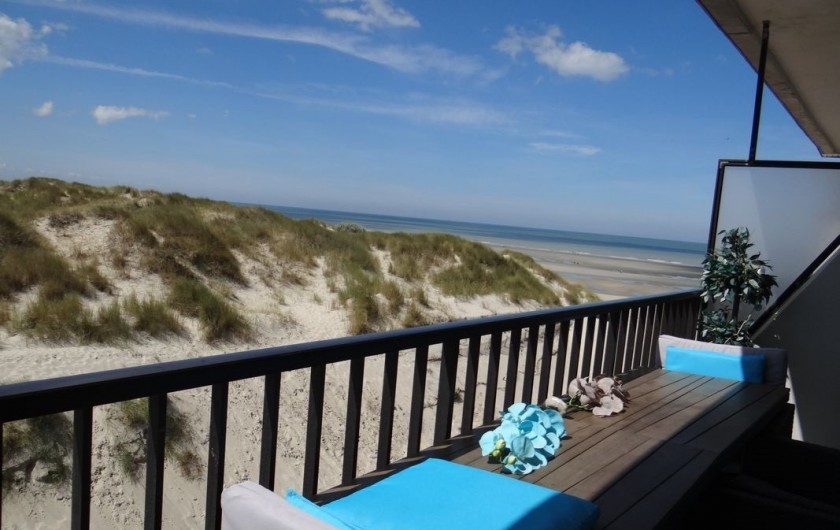 Location de vacances - Appartement à Fort-Mahon-Plage - Vue du balcon Mer, dunes et forêts. Pas de vis à vis, au calme. Pas de voiture