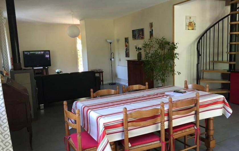 Location de vacances - Villa à Saint-Martin-de-Seignanx - rez de chaussée open space de 55 m² avec poêle à bois