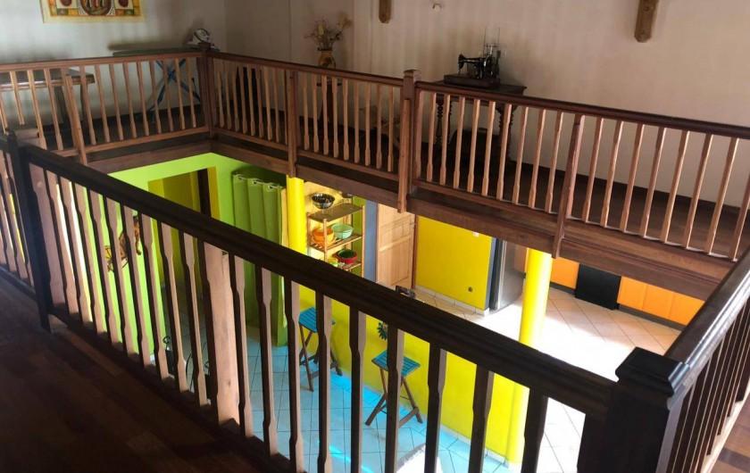 Location de vacances - Villa à Deshaies - Mezzanine avec vue sur salon/séjour