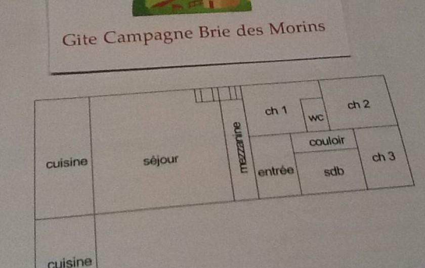 Location de vacances - Maison - Villa à Saint-Germain-sous-Doue - Plan - Maison Plein-Pieds sauf 3 marches (accès Séjour à Cuisine)