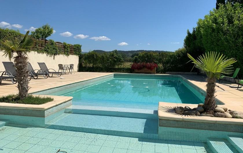 Location de vacances - Mas à Villelaure - Piscine totalement privée avec vue sur le Luberon
