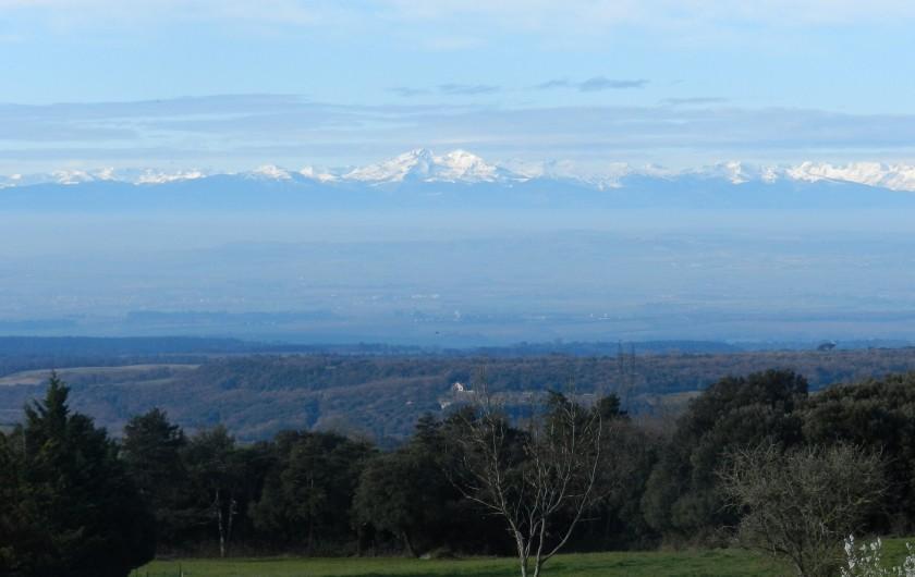Location de vacances - Chambre d'hôtes à Saissac - Les Pyrénées enneigées vue du domaine