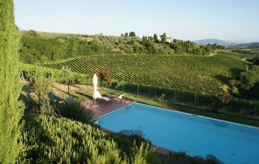 Location de vacances - Chalet à San Casciano in Val di Pesa - Swimming pool and view