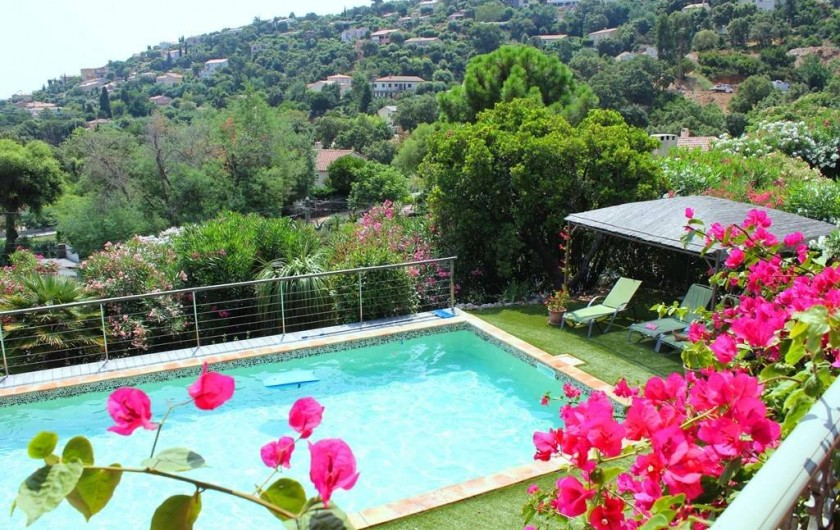 Location de vacances - Villa à Cavalaire-sur-Mer - Vue du 1er étage sur la piscine et les collines environnantes