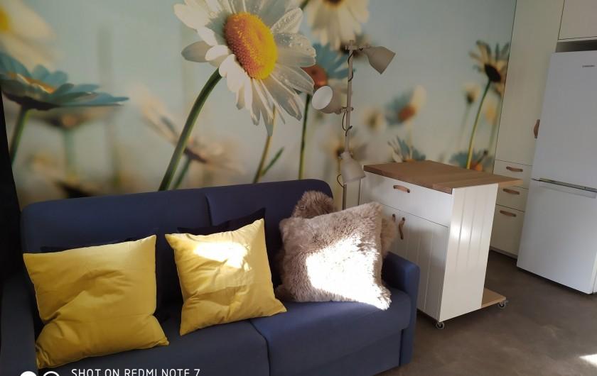 Location de vacances - Studio à Saint-Lary-Soulan - canapé-lit rapido (se replie facilement en laissant le drap housse) : 140*190