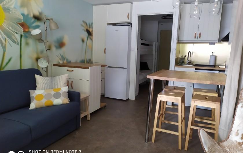 Location de vacances - Studio à Saint-Lary-Soulan - pièce à vivre avec canapé et fauteuil, coin-repas, commode-bureau, placard