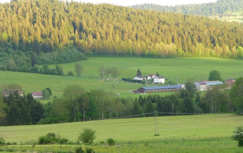 Location de vacances - Gîte à Les Fins - vue du gîte en été avec le coucher du soleil