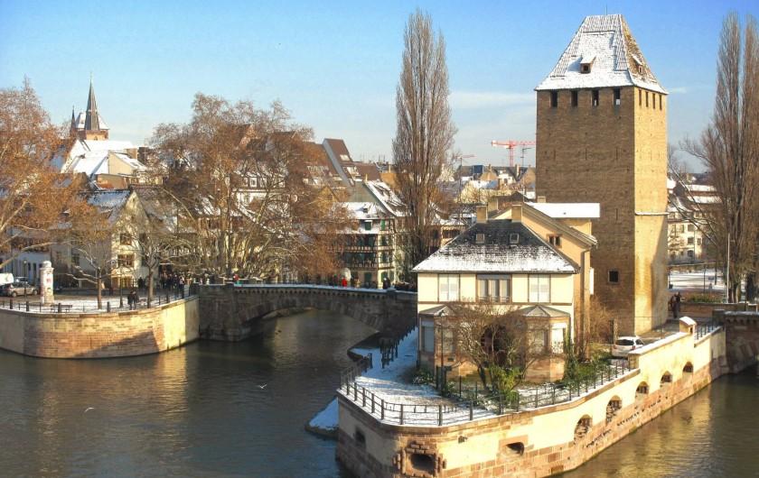 Location de vacances - Appartement à Strasbourg - La maison aux volets verts ( au centre).