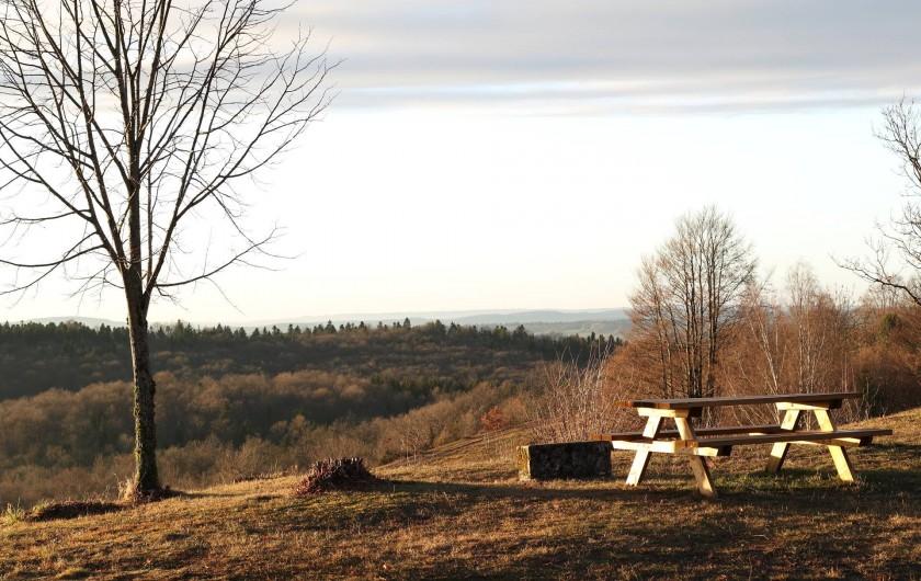 Location de vacances - Chalet à Bonlieu - Table pic-nique du terrain face au couché de soleil