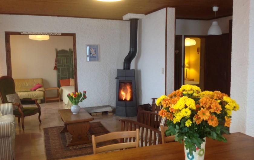 Location de vacances - Chalet à Bonlieu - le séjour et son coin feu