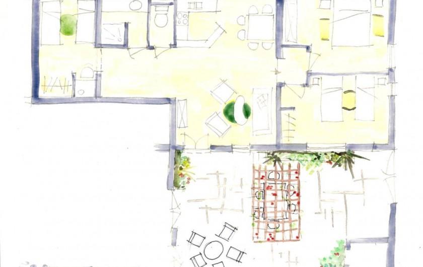 Location de vacances - Gîte à Grane - Esquisse en plan du Gîte APIS LIGUSTICA
