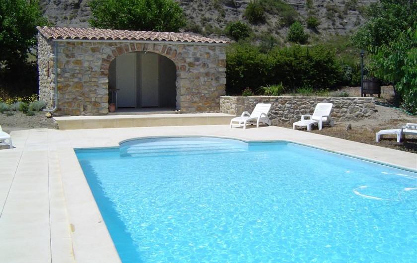 Location de vacances - Chambre d'hôtes à Chassagnes - Piscine 10 x 5 et pool house avec vestiaires, douche, wc, réfrigérateur