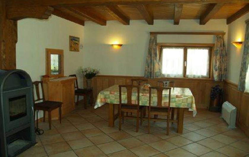 Location de vacances - Maison - Villa à Saint-Hippolyte - salle à manger avec poële à bois et passe plat vers cuisine
