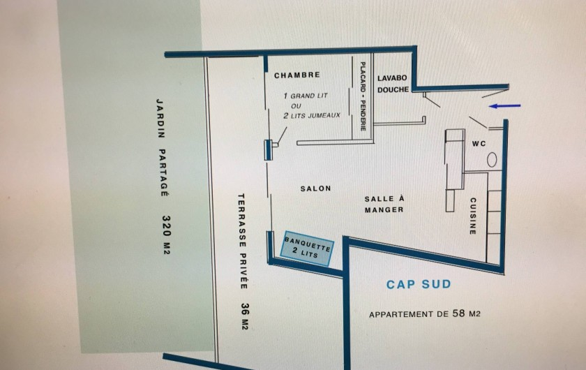 Location de vacances - Appartement à Sanary-sur-Mer - CAP SUD - Le plan de l'appartement (55 m2) + terrasse (36 m2)