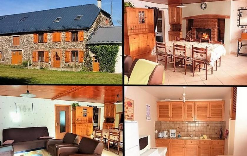Location de vacances - Gîte à Paulhac - la cuisine, le salon et la salle à manger