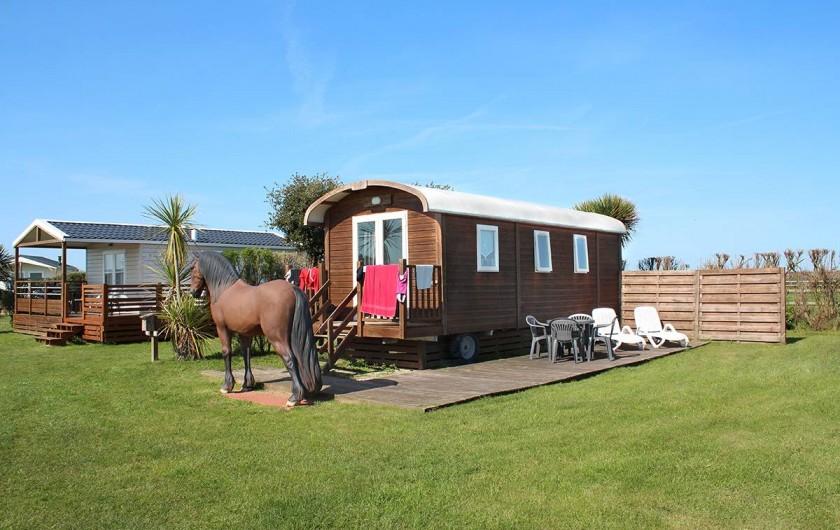 Location de vacances - Bungalow - Mobilhome à Ravenoville Plage - Roulotte en face du parc à chèvres