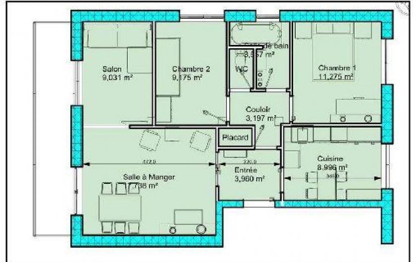 Location de vacances - Appartement à Cannes - Plan de l'appartement