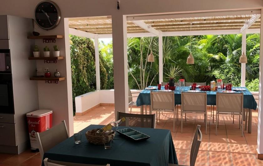 Location de vacances - Villa à Saint-François - vue terrasse repas de l'intérieur