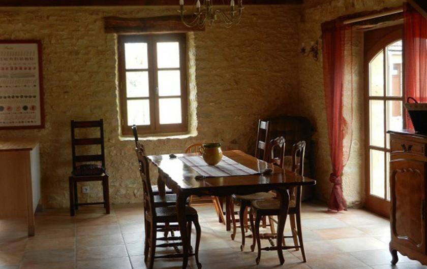 Location de vacances - Gîte à Dégagnac - Salle à Manger, regroupée avec cuisine et salon pour former une pièce de 80m2