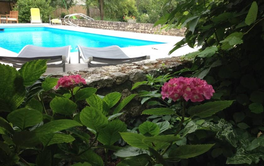 Location de vacances - Chambre d'hôtes à Messas - Piscine, vu de la terrasse de la chambre.