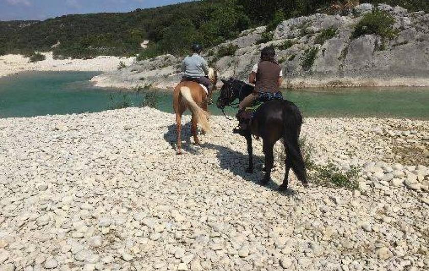 Location de vacances - Gîte à Saint-Maurice-d'Ibie - Balade à cheval au bord de l'Ibie