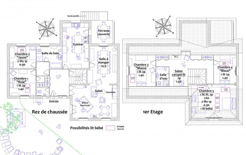 Location de vacances - Gîte à Autun - RDC & 1er étage Possibilité lits bébés dans toutes les chambres