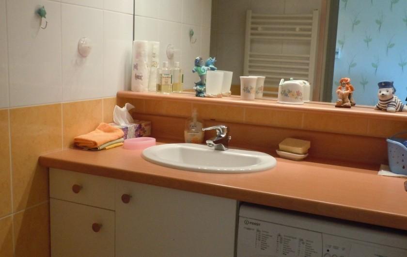 Location de vacances - Appartement à Courseulles-sur-Mer - Salle d'eau avec machine à laver et coin douche