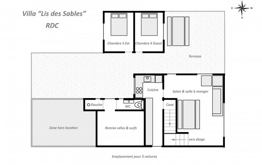 Location de vacances - Villa à Vielle-Saint-Girons - Plan agencement du rez-de-chaussée