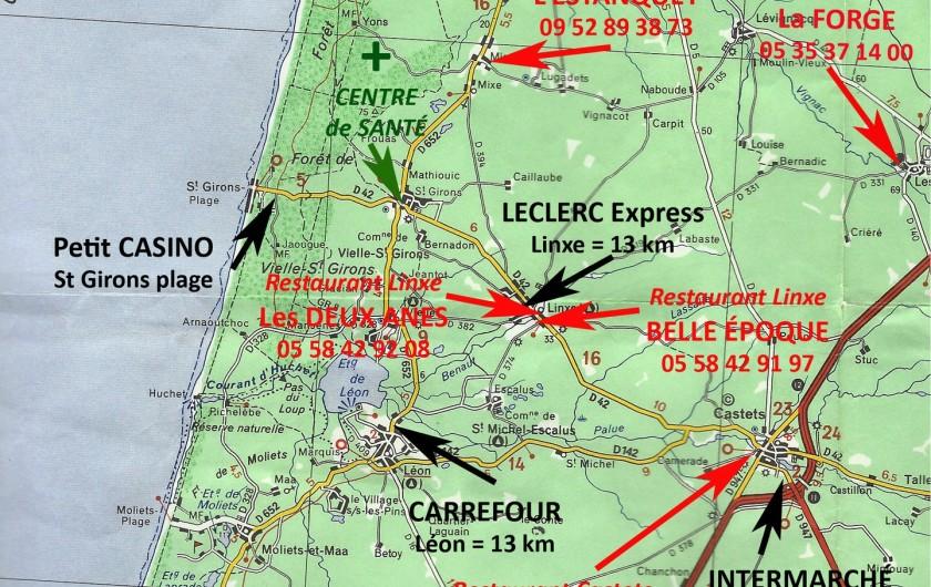 Location de vacances - Villa à Vielle-Saint-Girons - Carte routière des environs de Saint-Girons plage