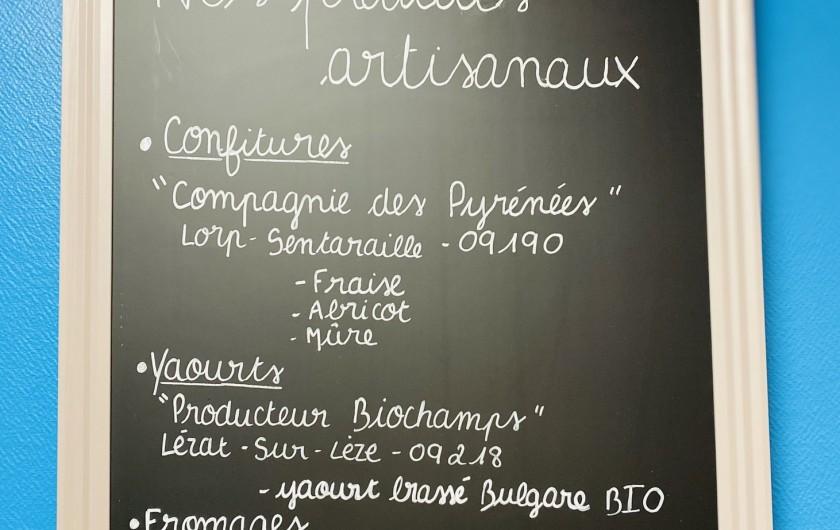 Location de vacances - Chambre d'hôtes à Foix - CARTE  DES PRODUITS ARTISANAUX