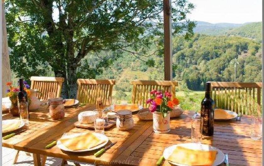 Location de vacances - Gîte à Le Pont-de-Montvert - Terrasse grand chalet 1