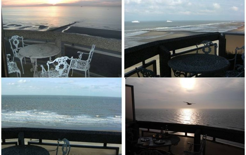 Location de vacances - Appartement à Ostende - Coucher de soleil et vues uniques et panoramiques