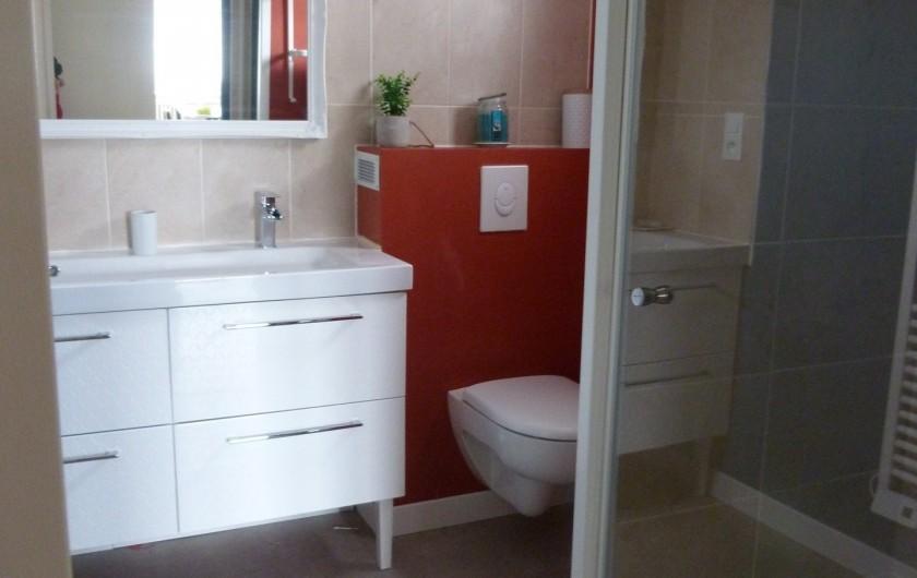 Location de vacances - Appartement à Granges-sur-Vologne - Lavabo double vasques, wc, douche, sèche serviettes électrique