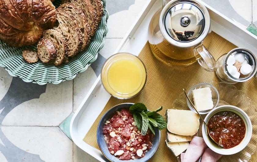 Location de vacances - Mas à Uchaux - Notre petit-déjeuner fait avec des produits de saison