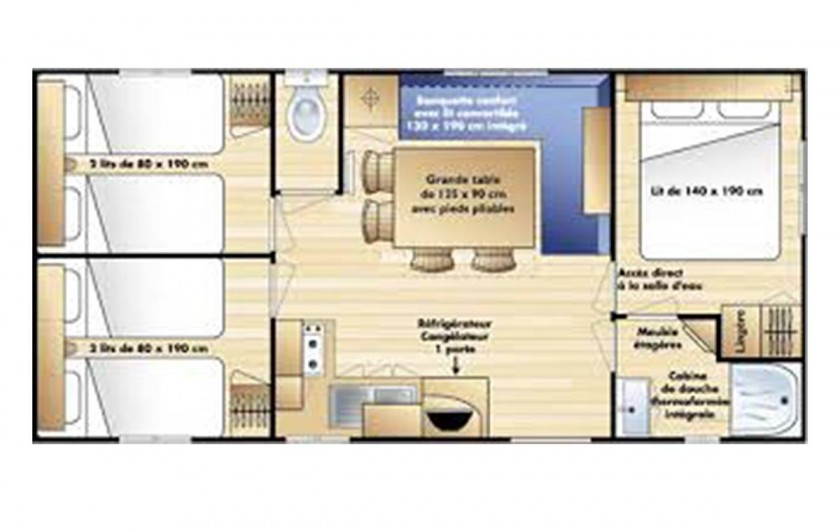 Location de vacances - Camping à Dolus-d'Oléron - Mobil Home 3 chambres – Formule 5