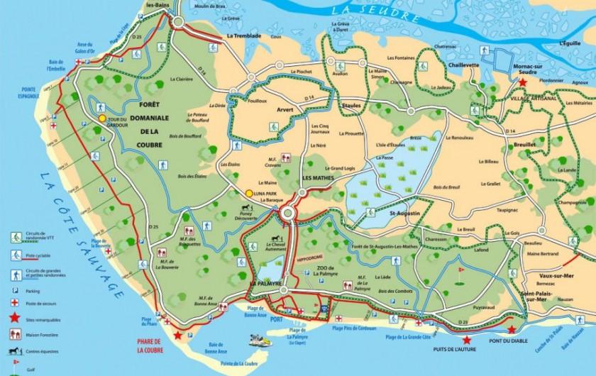 Location de vacances - Villa à La Palmyre - Plan des plages et des sentiers vélos