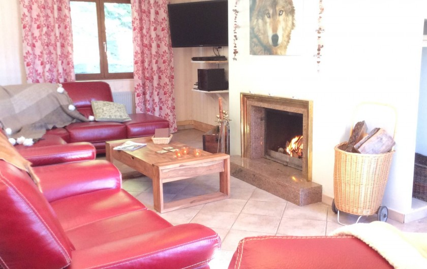 Location de vacances - Chalet à Barcelonnette - Salon : feu de cheminée avec bois à disposition, Home Cinéma.