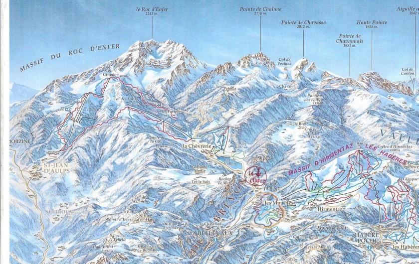 Location de vacances - Chalet à Bellevaux - Espaces   d'hiver  et plan des pistes