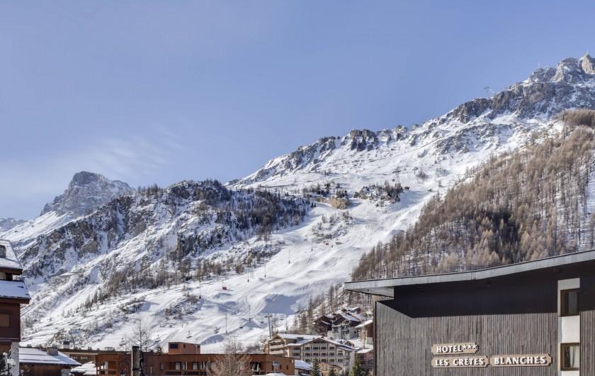 Location de vacances - Appartement à Val-d'Isère - Vue depuis le Balcon en Hiver coté Sud Ouest