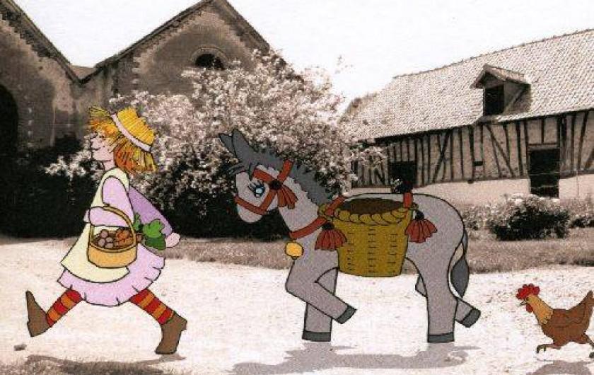 Location de vacances - Gîte à Berck - Notre logo: une fermière, son âne et une poulette avec la ferme en arrière plan.