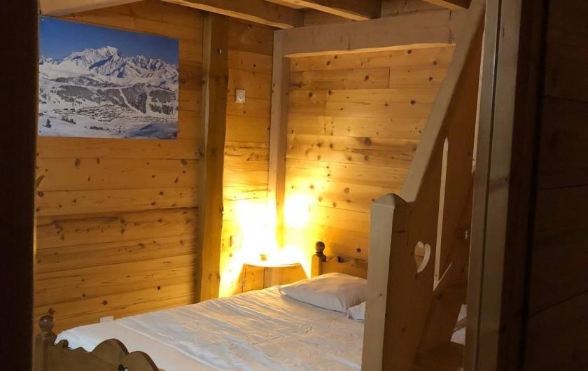 Location de vacances - Appartement à Hauteluce - Chambre 2: 1 lit double + mezzanine avec matelas 2 personnes