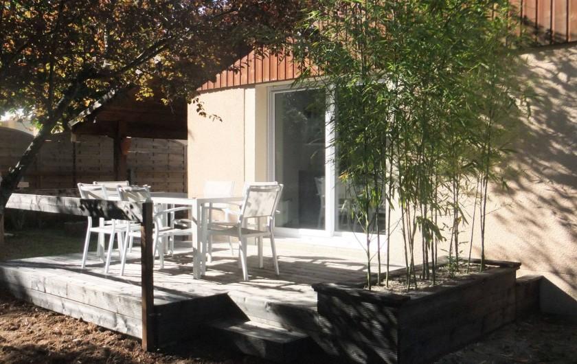 Location de vacances - Villa à Lacanau - terrasse sud avec velum