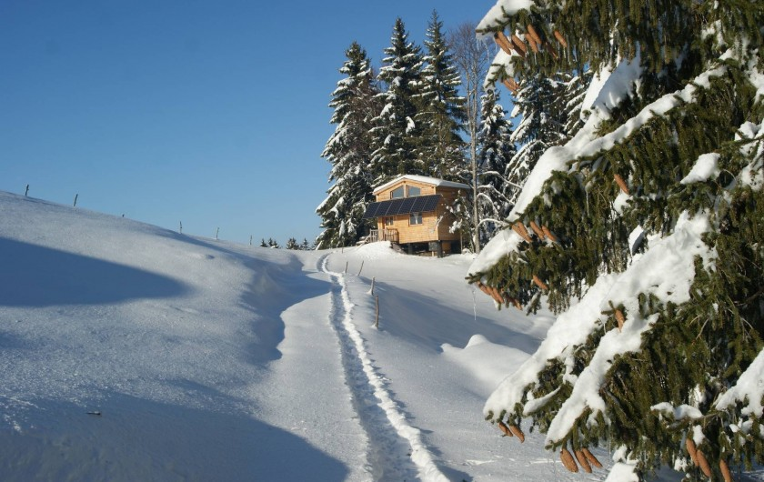 Location de vacances - Cabane dans les arbres à Bellecombe - Accès sur 100m  ,  à pied, vtt, ski ou raquettes