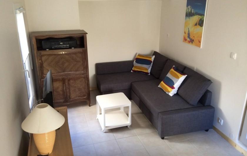 Location de vacances - Chalet à Saint-Martin-de-Brômes - le salon avec canapé convertible