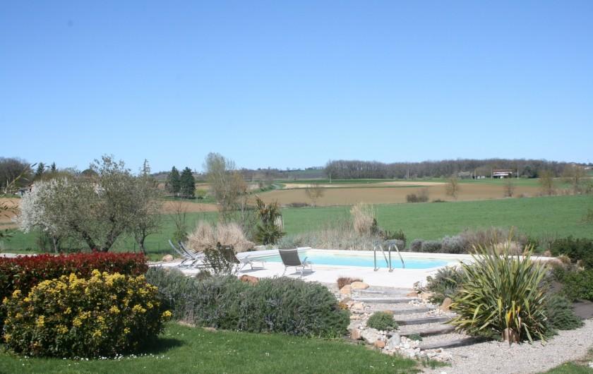 Location de vacances - Gîte à Labastide-de-Lévis - Piscine. Vue sur la campagne